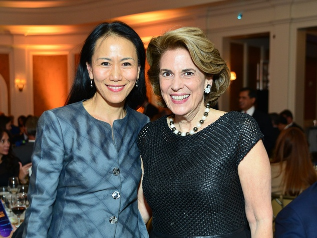 Y Ping Sun, left, and Lois Stark at the Center for Houston's Future dinner October 2013