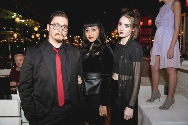Sean Carr, from left, Bianca Ilnette and Isabel Victoria at the Page Parkes & Ruggles Black Holiday Soiree December 2014