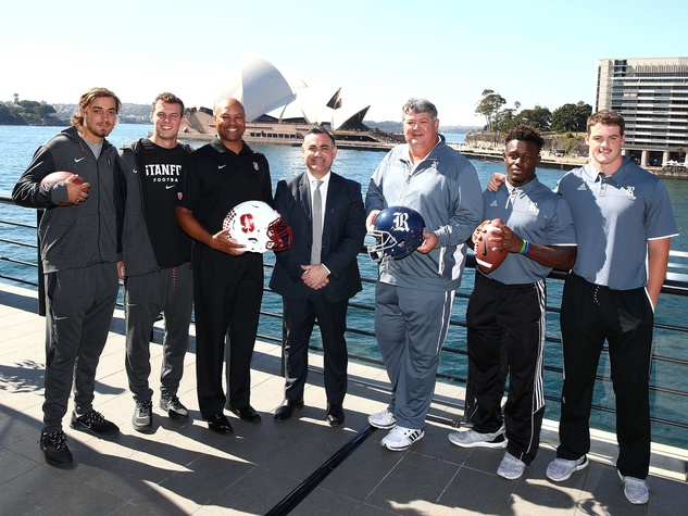 Acting Premier John Barilaro  with Stanford and Rice players and coaches in Sydney Australia