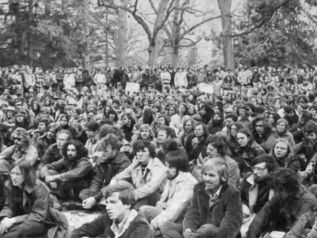 crowd in Greenwich Village