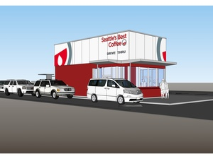 Rendering of Seattle&#39;s Best Coffee drive-thru