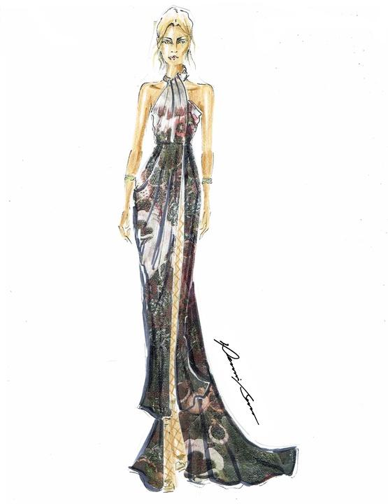 Dennis Basso designer inspiration sketch fall 2017
