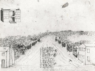 1840 Sketch of Austin by Edward Hall - Austin History Center - Austin 175: From Cabins to Skyscrapers - December 2014