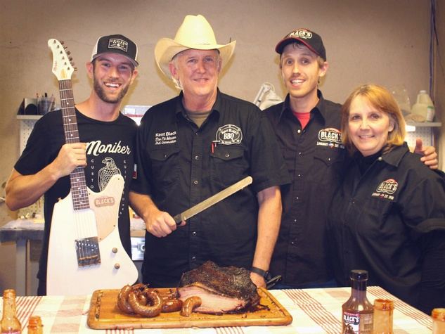 Moniker Guitars Texas BBQ Party December 2014 - Black's Barbecue Family - Kent Black - Kevin Tully