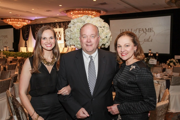 Minnette Jackson, left, with Peter and Minnette Boesel at the Women's Chamber of Commerce Hall of Fame Gala December 2014