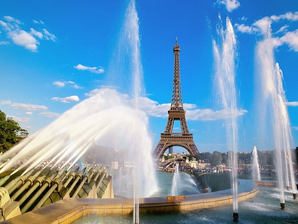 Eiffel Tower, fountains, Paris
