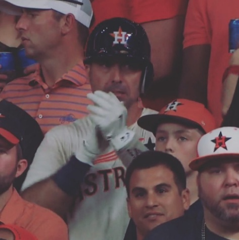 Moustapha El-Hakam in Houston Astros uniform at ALCS game
