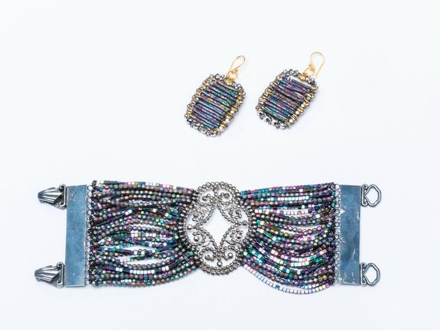 Ultra Disko Cuff and Earrings, Disko Mirrored Crystal Earrings, Departed Paisley Pearl Clip Earrings, Departed Green Drops with CZ Earrings, SHŌNA