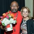 Alphonso Brooks, Wilkinson Center Client Award Recipient, Anne Reeder, can do luncheon