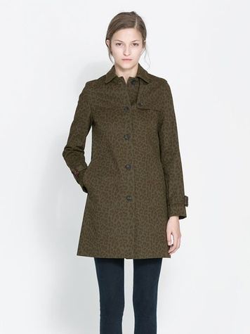 zara printed trench coat