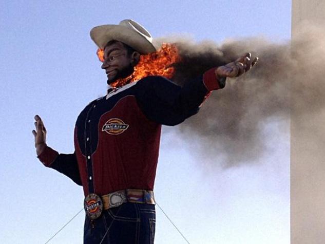 Big Tex on fire