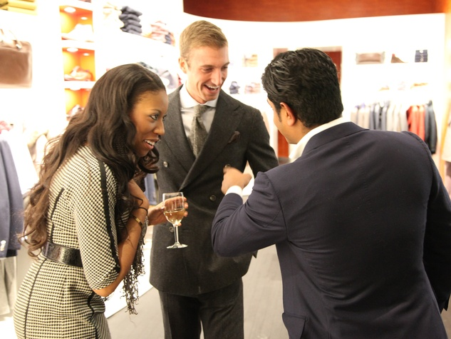 Carrie Lofton, from left, Travis Kern and Nish de Gruiter at the Suitsupply Houston grand opening party December 2013