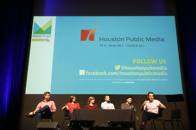 Show7 Kai Ryssdal, from left, Krissy Clark, Adriene Hill, Ben Johnson, Scott Tong and Paddy Hirsch at the Marketplace Show October 2014