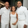 25 Mario Elie, from left, Gina Gaston and Chester Pitts at the Texans White Party September 2014