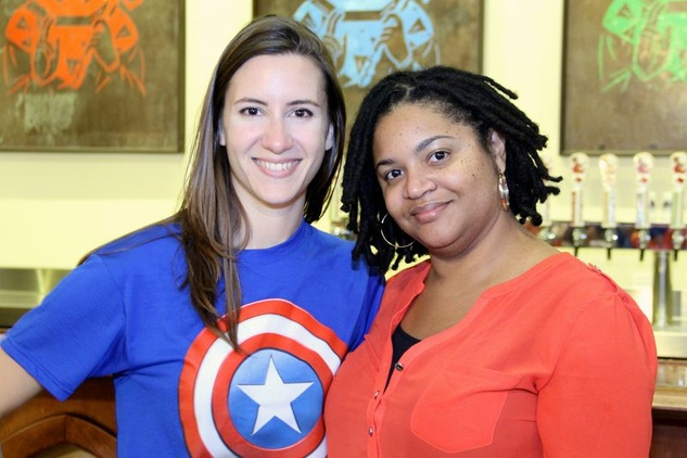 50 Kristen Macaluso, left, and Natasha Wade at the Houston Area Women's Center Young Leaders Independence Day Bash July 2014.