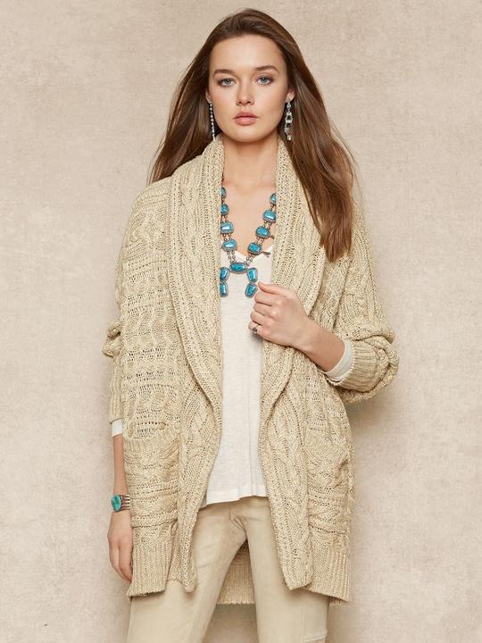 office sweaters Ralph Lauren Aran shawl-collar cardigan in linen blend three-quarter-length dolman sleeves 498