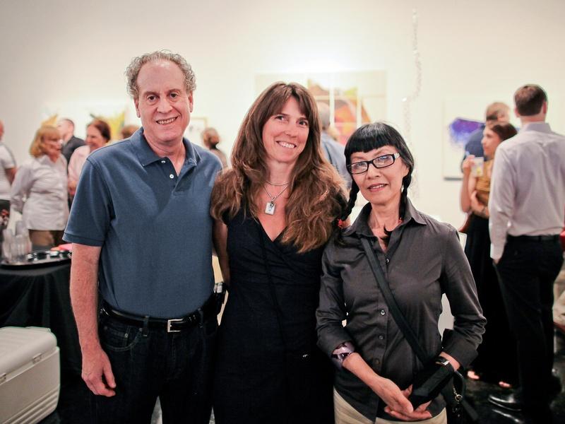 Lawndale Art Center The Big Show VIP reception July 2013 Rob Greenstein, Raina Chamberlain and Mari Omori