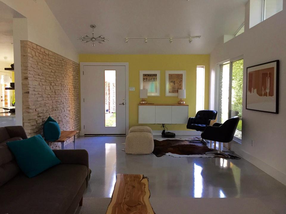 Austin house home Stoneway Drive Allandale Preservation Austin Historic Homes Tour 2016 living room