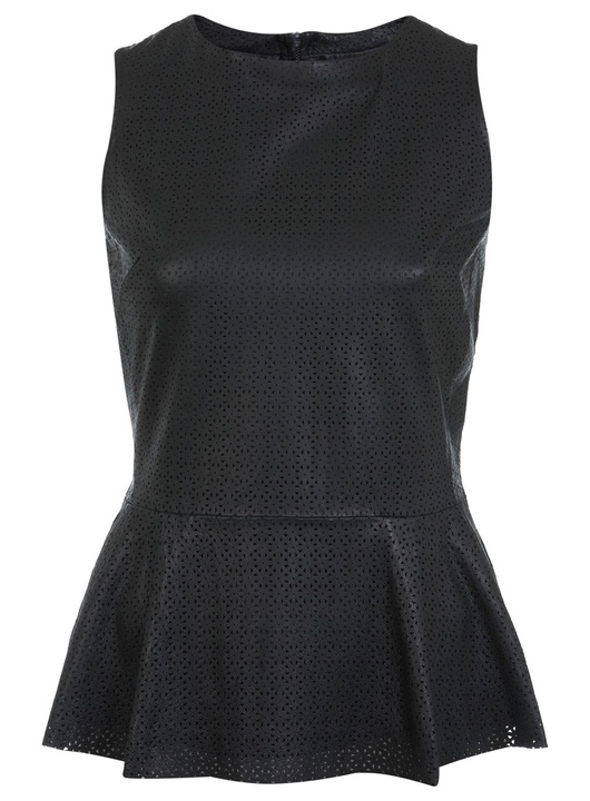 Miss Selfridge Punched Leather Peplum Top