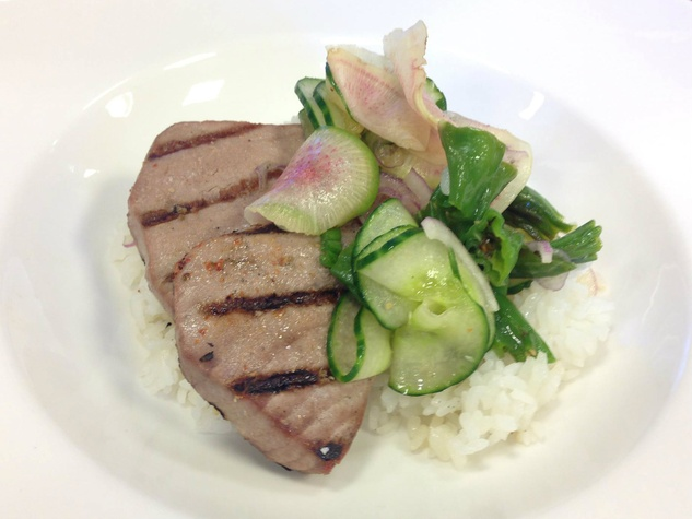 Seared tuna with summer vegetable salad at Cafe Modern restaurant in Fort Worth