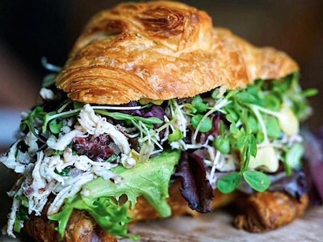 San Antonio, CommonWealth Coffee at Hemisfair, January 2018, Tarragon Salad Croissant