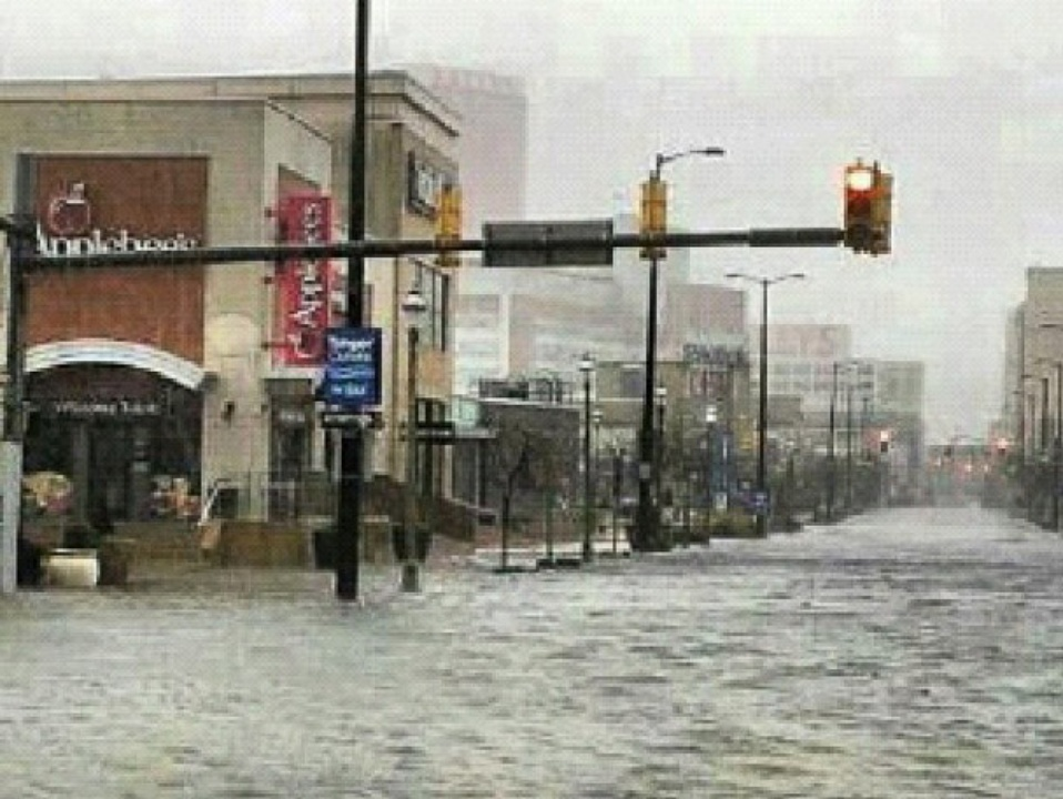 Hurricane Sandy, Atlantic City, streets flooded, October 2012