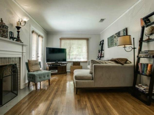 Living room at 2329 W. Colorado Blvd. in Dallas
