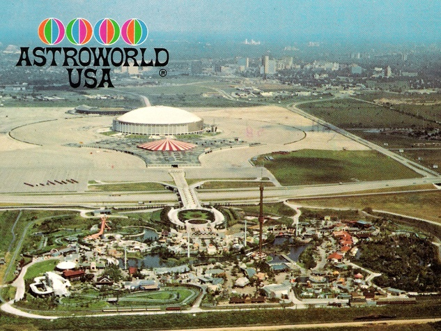 Astroworld property with Astrodome in background 1968