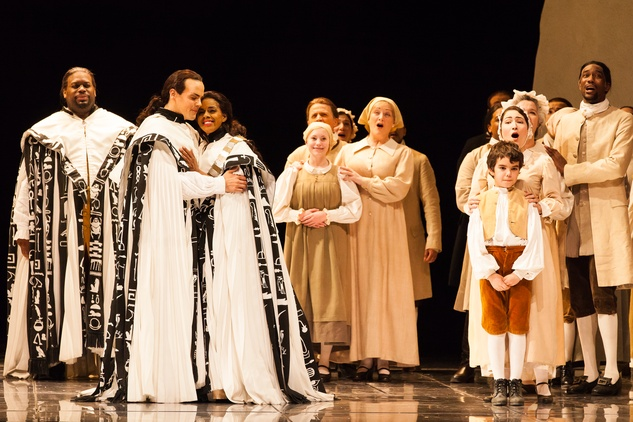 Houston Grand Opera HGO The Magic Flute January 2015 Morris Robinson as Sarastro, David Portillo as Tamino, Nicole Heaston as Pamina and members of the HGO chorus and supernumeraries