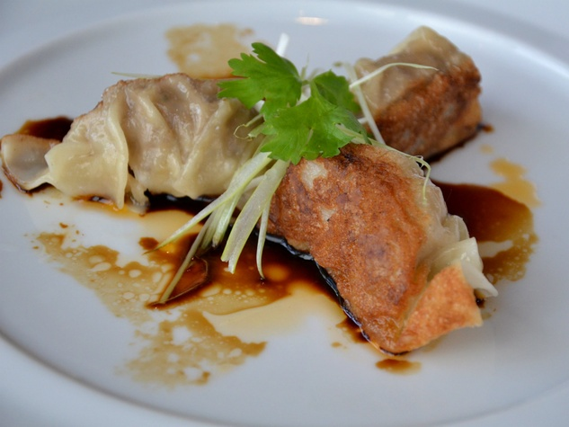 Pork belly pot sticker at Five Sixty in Dallas