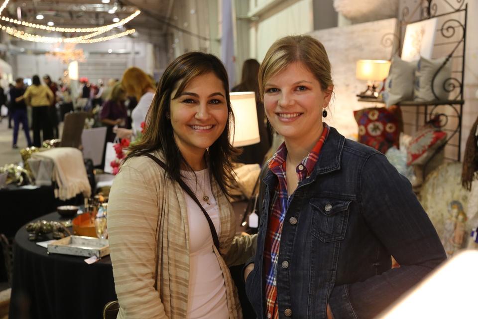 Kathleen Hernandez, left, and Lauren Perkins at the CultureMap Pop-Up Shop December 2014
