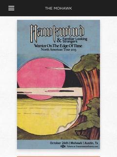 screenshot of Mohawk app of Hawkwind poster gallery