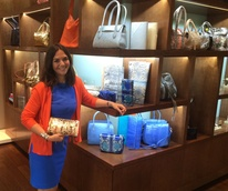 Kate Falchi with colorful handbags at Elizabeth Anthony