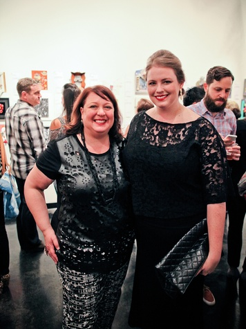 Christine West, left,  and Andrea Condara at the Lawndale Gala and Retablo Silent Auction October 2013