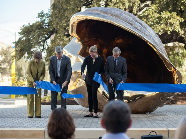 Marc Quinn sculpture ribbon cutting Andrée Bober Clay Johnston Douglas Dempster Pat Clubb