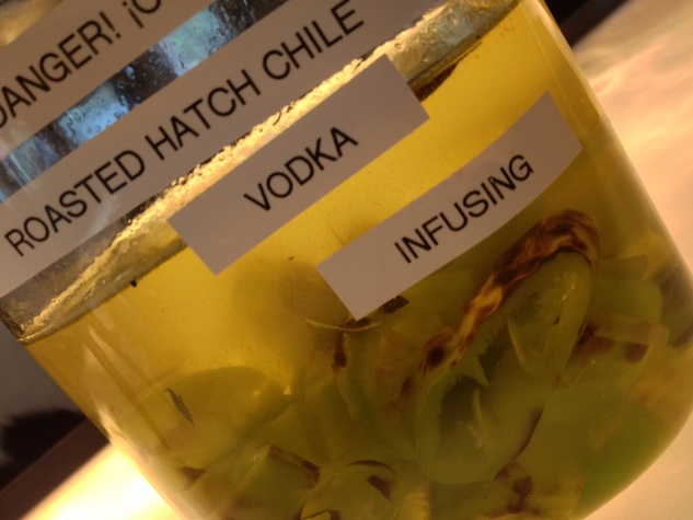 Line & Lariat roasted hatch vodka infusion at Line & Lariat