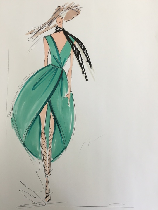 Christian Siriano inspiration sketch spring 2017
