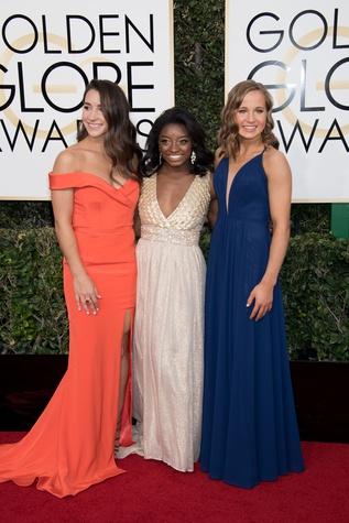 Aly Raisman, Simone Biles, and Madison Kocian at Golden Globes 2017