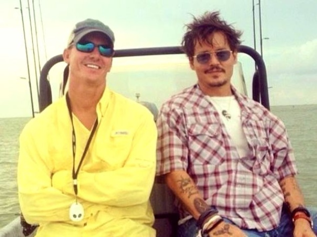 Johnny Depp fishing in Rockport August 2013