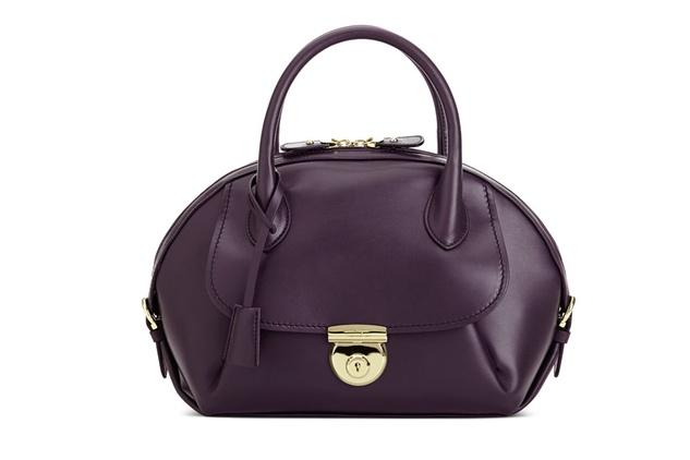 Ferragamo Fiamma handbag in plum calf leather