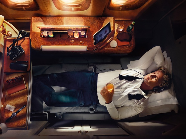 Emirates A380 in Houston December 2014 First Class Suite 1 leather pants