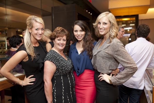 Faunah Schneider, from left, Julie Baldwin, Sessie de la Torre and Kelsey Young at the David Yurman Meteorite Collection launch