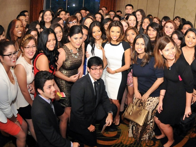 Eva Longoria and University of Houston students Nov. 2013