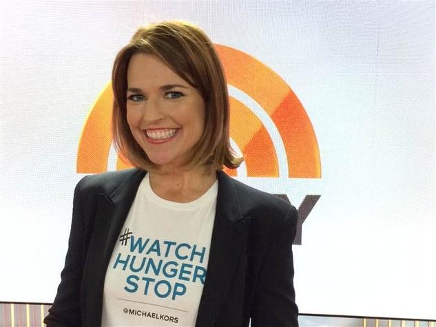 Savannah Gutherie in Michael Kors Watch Hunger Stop T-shirt
