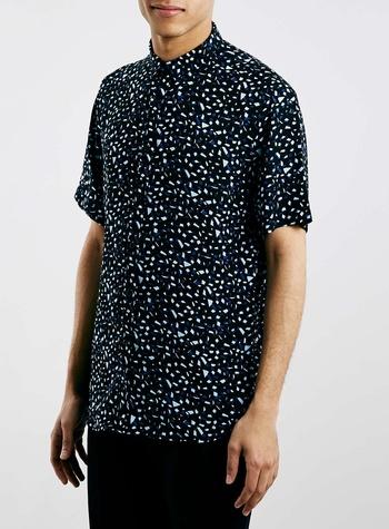 Topman Navy confetti drapey short sleeve smart shirt