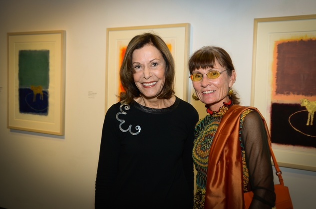 491 Jan Greenberg, left, and Susie Kalil at the Barbara Hines Art Opening in Dallas October 2014