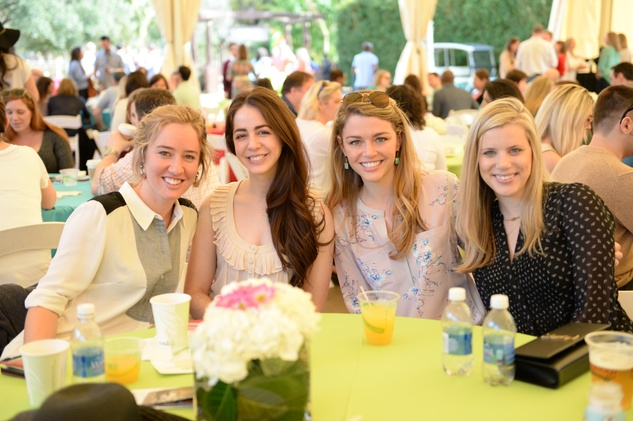 Claire Campbell, from left, Lela Brodsky, Brittany Sakowitz and Kelly Law at Houston's Young Professionals Flock to a Beastly Brunch at the zoo February 2015
