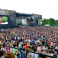 Free Press Summer Fest June 2014 crowd with musician on big screen