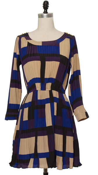 Chloe Loves Charlie Blue Pleated Blocks Dress
