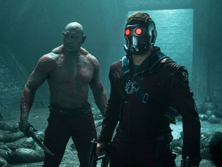 Dave Bautista and Chris Pratt in Guardians of the Galaxy